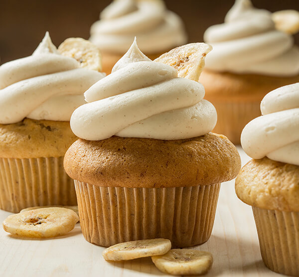 Vegan Banana Muffins with Cinnamon Frosting using Macphie Vegan Cake Mix