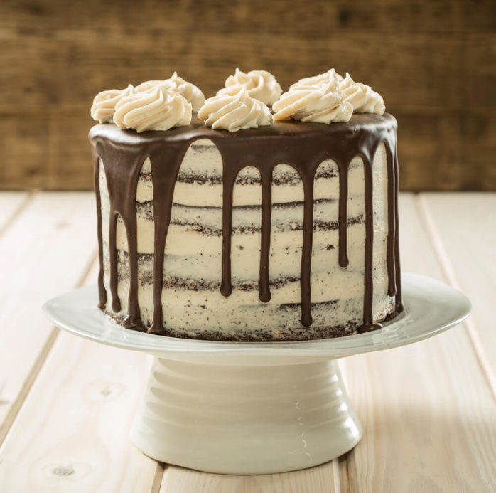 Vegan Chocolate Mocha Drip Cake using Macphie Vegan Choc Cake Mix