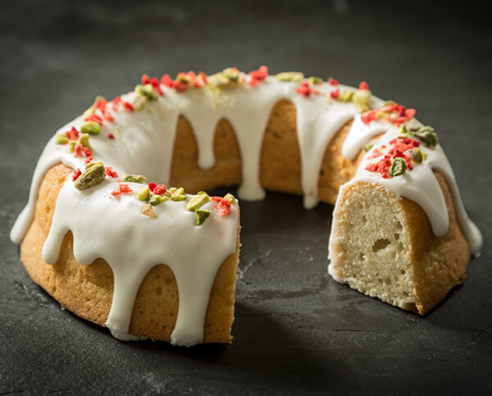 Vegan Rhubarb & Pistachio Bundt Cake using Macphie Vegan Cake Mix